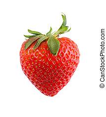 rojo, fresa, aislado, en, blanco, primer plano