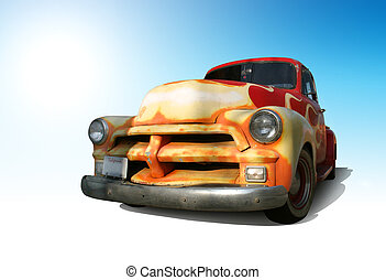Funky Vintage American Truck Outlined With Clipping Path