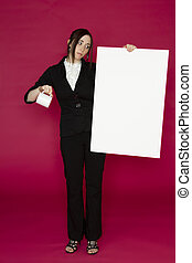 Out of luck - Young business woman holding a white board and...