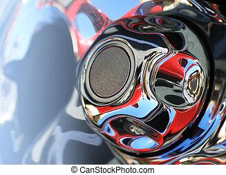 Chrome rim with reflections, close-up. - Chrome rim detail,...