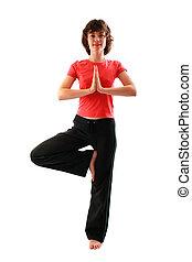 Yoga poses series. Tree Pose. Vrikshasana. Isolated on white...