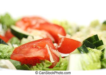 Fresh salad, macro close-up isolated on white