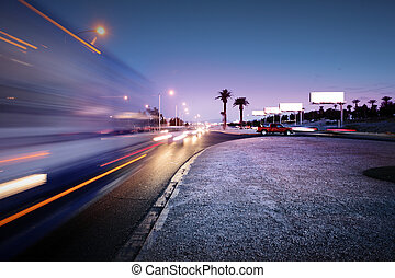 Traffic at Las Vegas Blvd., Las Vegas, USA. - Speeding bus,...