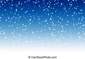 Falling snow over night blue winter sky background