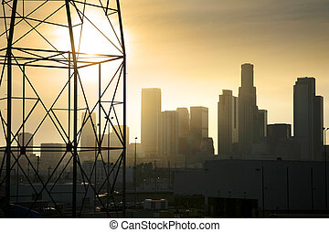 Downtown Los Angeles industrial view with power line in...