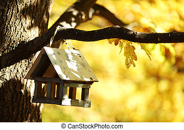 birdhouse in the autumn forest - birdhouse in the autumn...