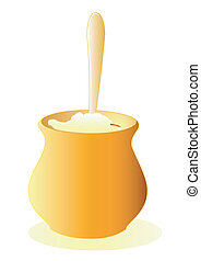 Porridge pot - Illustration of a pot of porridge with a...