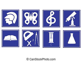 Conjunto, educativo, símbolos
