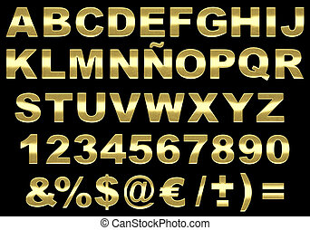 3d brushed gold alphabet isolated - Alphabet 3d letters made...