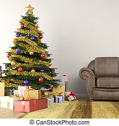 christmas tree in living room - christmas tree in modern...