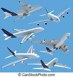 airplane collection set isolated - collection of several...