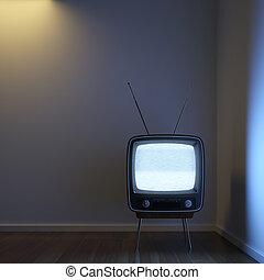 Retro TV alone in the corner - a single retro TV in a corner...