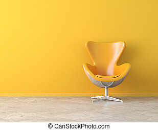 yellow interior copy space