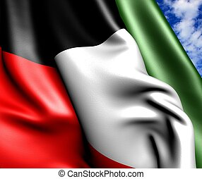 Flag of Kuwait against cloudy sky Close up