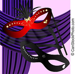 black and red halfmask - against the backdrop of a purple...
