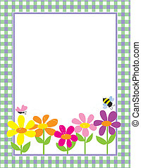Floral Gingham Background - A border or frame featuring a...
