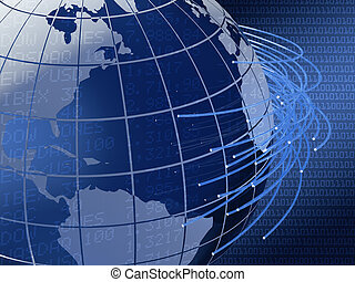 global telecommunications background design - 3d image of a...