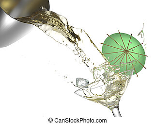cocktail splash isolated - cocktail splashing from a shaker...