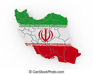 Map of Iran in Iranian flag colors 3d