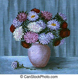 Flowers asters in a pot - Flowers, bouquet of asters in a...