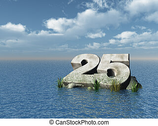 twenty five - the number twenty five at the ocean - 3d...