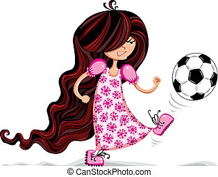 Little girl playing soccer. - Little girl playing soccer...