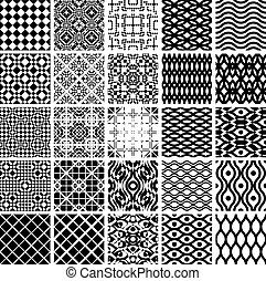Set of geometric seamles patterns - Set of monochrome...