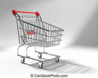 empty shopping cart in a typical studio background