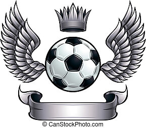 Winged soccer ball emblem - Winged soccer ball emblem with...
