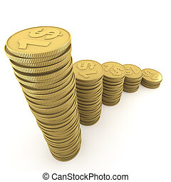 ascending piles of coins