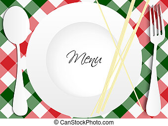 Menu Card Design - Red and Green Gingham Texture With Plate,...