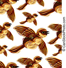 Birds migration seamless pattern. Sparrow flock graphic...