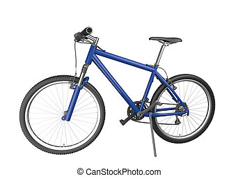 blue mountain bike isolated on white background This image...
