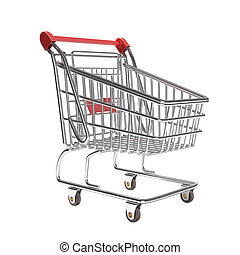 isolated empty shopping cart in a typical studio setup. This...