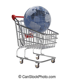 isolated shopping cart with glass globe world - isolated...