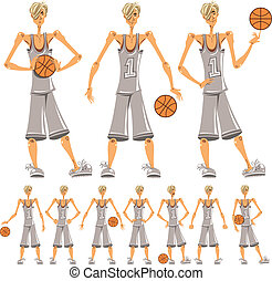 Basketball player illustrations set Different emotions...