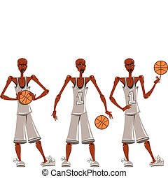 Basketball player illustrations set
