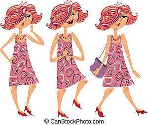 Cartoon girl illustrations set. - Cartoon girl illustrations...