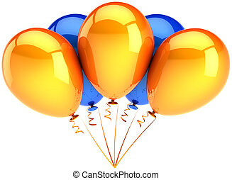 Party balloons colored orange blue