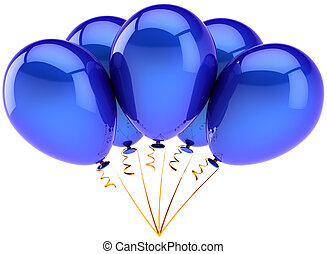 Blue helium balloons in a bunch - Party balloons five...