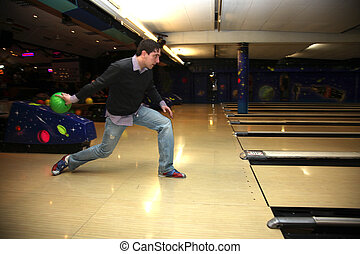 Game - A boy in the start-up with a bowling game