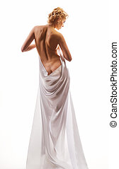 naked woman in a sheet - naked beautiful woman in a sheet on...