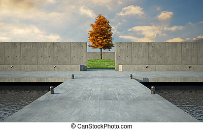 minimalistic architecure - 3d render of abstract and...