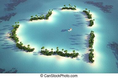 aérien, vue, forme coeur, île