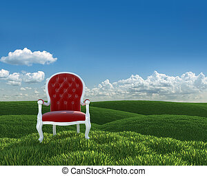red armchir on meadows - red velvet classic armchair in a...