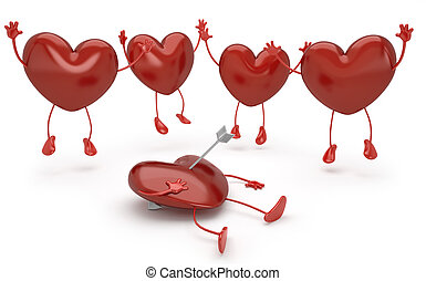 happy hearts series, jumpling and pierced by cupid arrow