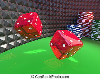 dices on a casino table - two dices rolling on a green...