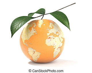 earth map made on a peeled orange - concept of earth map...