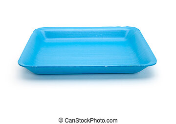 Blue food tray - Blue plastic food tray with white...