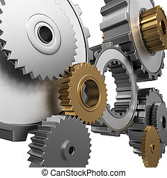 isolated gears and pinions - Isolated 3d render of metalllic...